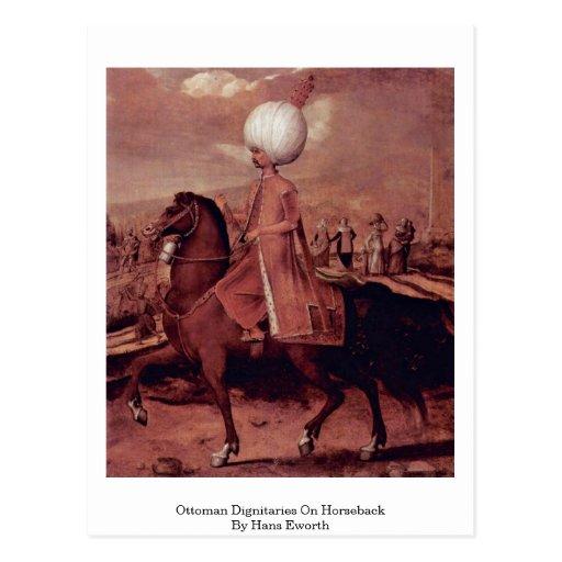 Ottoman Dignitaries On Horseback By Hans Eworth Post Card