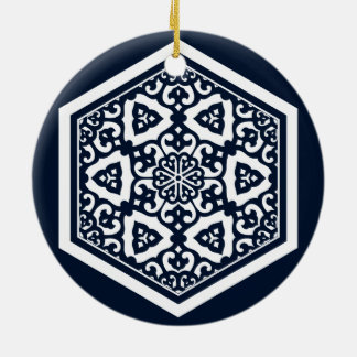 Ottoman turkish blue ware tracery design christmas ornament