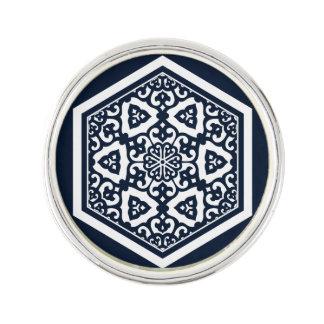 Ottoman turkish blue ware tracery design lapel pin