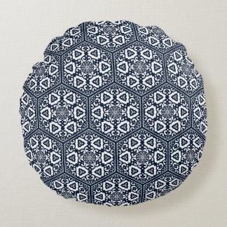 Ottoman turkish blue ware tracery design round cushion