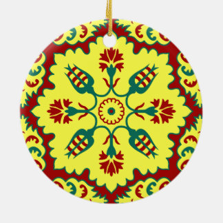Ottoman Turkish tulip pattern in red and yellow Round Ceramic Decoration