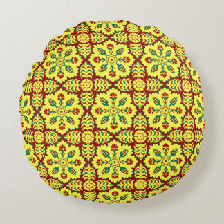 Ottoman Turkish tulip pattern in red and yellow Round Cushion