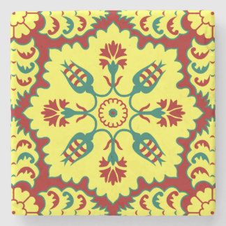 Ottoman Turkish tulip pattern in red and yellow Stone Beverage Coaster