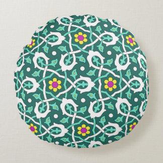 Ottoman Turkish vine design in green and white Round Cushion