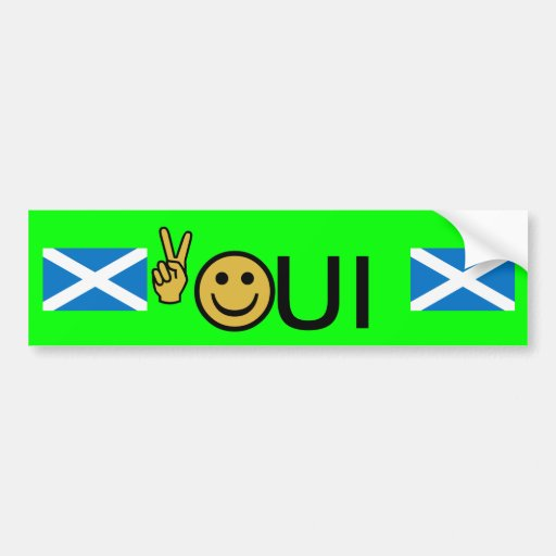 Oui Peace Smiley Scottish Independence Sticker Bumper Stickers