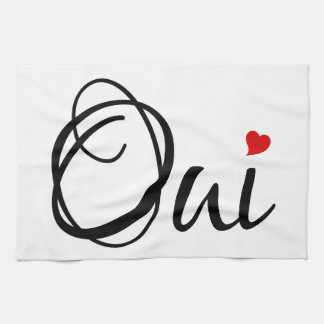 Oui, yes, French word art with red heart Tea Towel