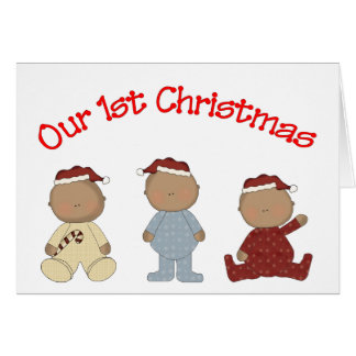 Our 1st Christmas 2009 (African American Triplets) Greeting Card