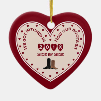 Our 1st Christmas Married Country Western Christmas Ornament