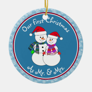 Our 1st Christmas Married Gift Fun Snow Couple Round Ceramic Decoration