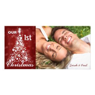 Our 1ST Christmas Photo Modern Christmas Tree Customised Photo Card
