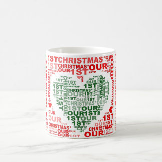Our 1st Christmas Red Green Heart Coffee Tea Mug