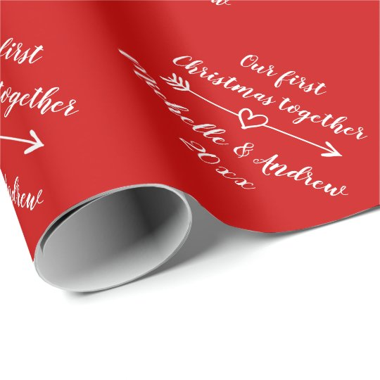 Our 1st Christmas together custom red Holiday Wrapping