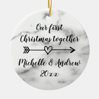 Our 1st Christmas together marble print custom Christmas Ornament
