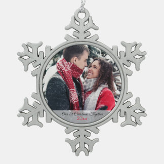 Our 1st Christmas Together Photo Snowflake Pewter Christmas Ornament