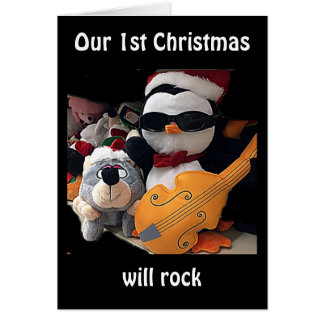 "OUR ""1st CHRISTMAS"" WILL ROCK-ROCKIN' PENQUIN Greeting Card"
