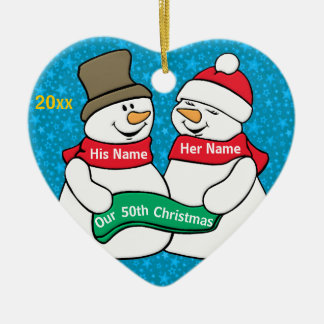 Our 50th Christmas Ceramic Heart Decoration