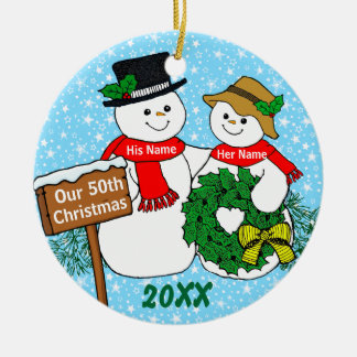 Our 50th Christmas Round Ceramic Decoration