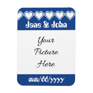 Our 8-Bit Hearts in Blue Save-the-Date Magnet