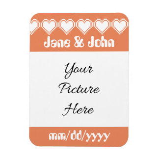 Our 8-Bit Hearts in Coral Save-the-Date Magnet