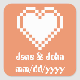 Our 8-Bit Hearts in Coral Sticker