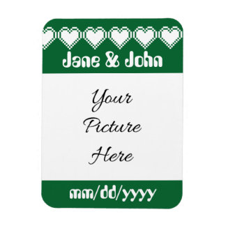 Our 8-Bit Hearts in Green Save-the-Date Magnet