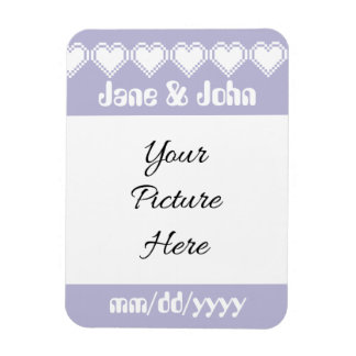 Our 8-Bit Hearts in Lavender Save-the-Date Magnet