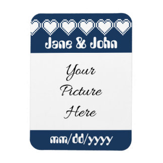 Our 8-Bit Hearts in Navy Save-the-Date Magnet