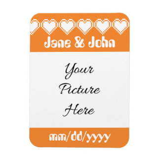 Our 8-Bit Hearts in Orange Save-the-Date Magnet
