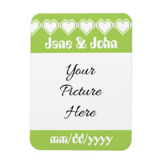 Our 8-Bit Hearts in Peridot Save-the-Date Magnet