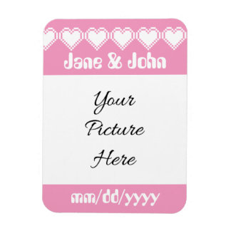 Our 8-Bit Hearts in Petal Pink Reminder Magnet