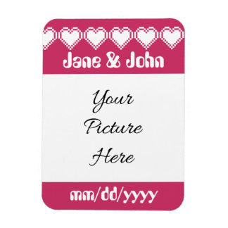 Our 8-Bit Hearts in Raspberry Save-the-Date Magnet