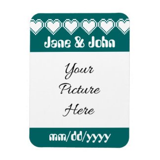 Our 8-Bit Hearts in Teal Save-the-Date Magnet