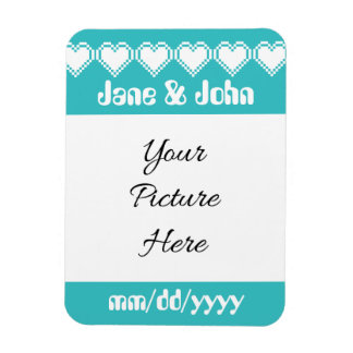 Our 8-Bit Hearts in Turquoise Save-the-Date Magnet