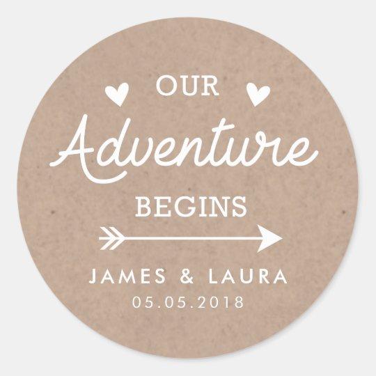 Our adventure begins kraft paper wedding sticker