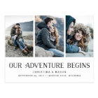 Our Adventure Begins   Three Photo Save the Date Postcard