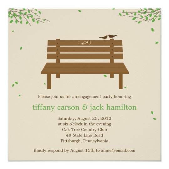 Our Bench Engagement Party Invitation