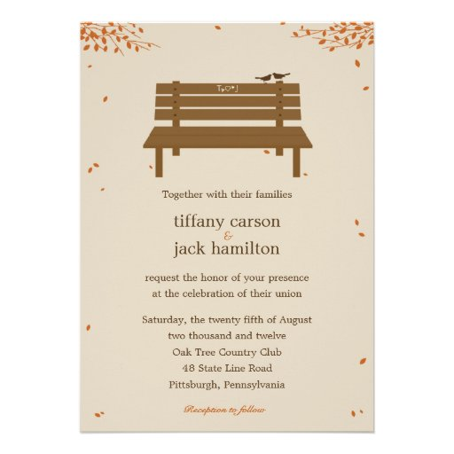 Our Bench Fall Wedding Invitation Custom Invites