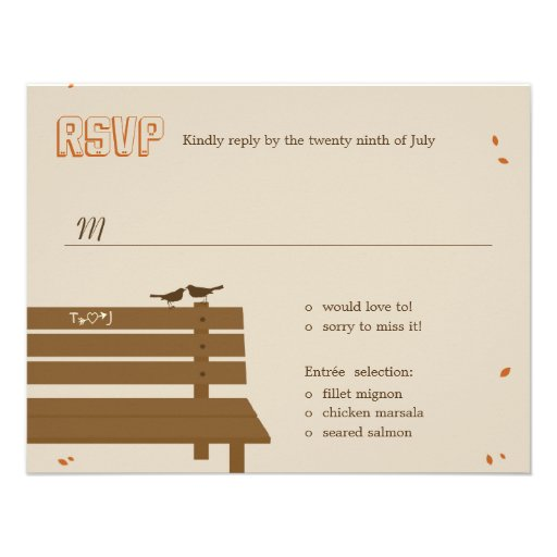 Our Bench Fall Wedding RSVP /Response Cards Personalized Invites