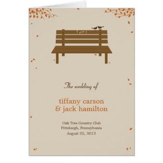 Our Bench Wedding Program Card