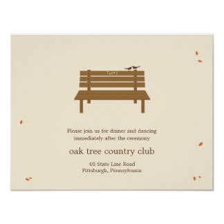 Our Bench Wedding Reception Card Personalized Invite
