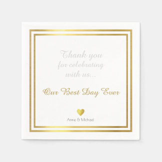our best day ever wedding party disposable napkins