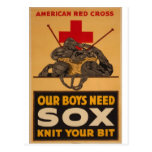 Our boys need sox Red Cross World War 2 Postcard