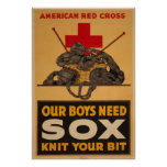Our boys need sox Red Cross World War 2 Poster