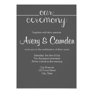 Our Ceremony Script Wedding Invitation- Charcoal 13 Cm X 18 Cm Invitation Card