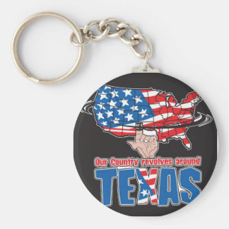 Our Country revolves around Texas Basic Round Button Key Ring