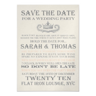 OUR DATE YOUR DIME 13 CM X 18 CM INVITATION CARD
