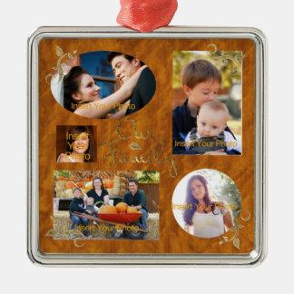 Our Family Photo Album Collage Silver-Colored Square Decoration