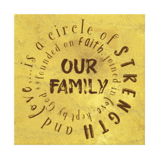 Our Family Quote: Circle of Strength and Love Canvas Print