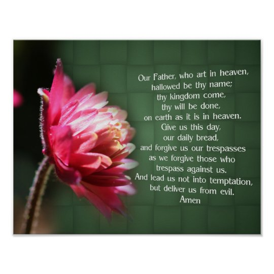 Our Father Lord's Prayer Flower Religious Poster