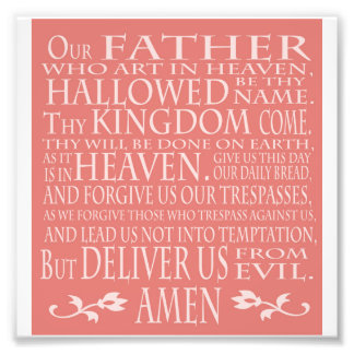 'Our Father' Prayer, pink shade Photographic Print